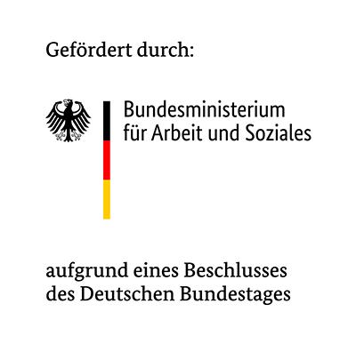 Gefördert durch: Bundesministerium für Arbeit und soziales (Logo)