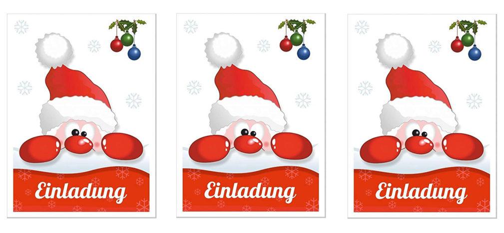 """ClipArt: Kopf dreier Nikolause mit roter Nase nebeneinander; darunter das Wort """"Einladung"""""""