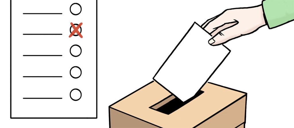 Grafik: Wahlurne mit Wahlschein, der gerade eingeworfen wird
