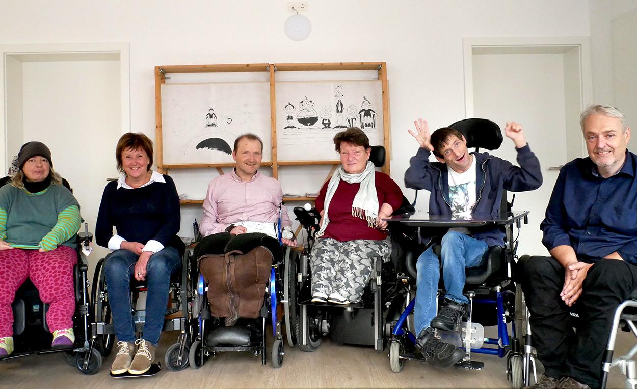Der WüSL-Vorstand: v.l. M. Bach, B. Windbergs, U. Lorey, M Bötsch, W. Wölfl + M. Gerr (Leiter EUTB Beratungsstelle)